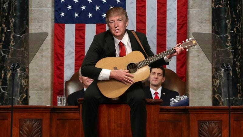 Acoustic-Guitar-Wielding Trump Tells Congress \'This Here\'s The Story ...