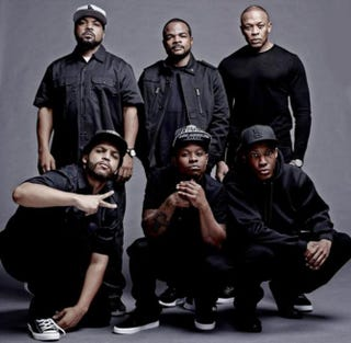 The original members of N.W.A (top), minus Eazy-E, with the Straight Outta Compton castEntertainment Weekly