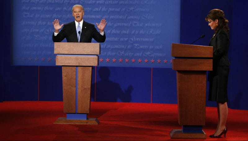 Palin and Joe Biden debate, Oct 2, 2008. Photo via AP.