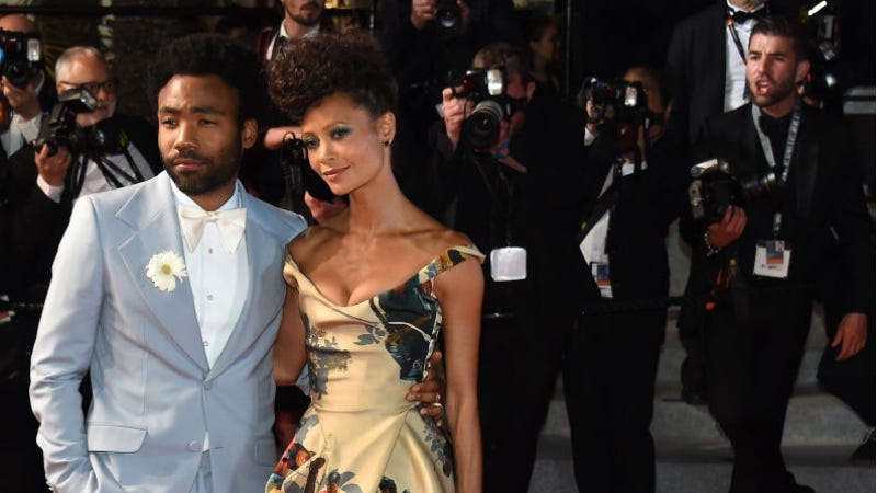 Thandie Newton (right) and Donald Glover at the Cannes debut of Solo: A Star Wars Story.