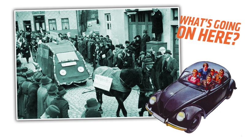 Illustration for article titled This Photo Of An Effigy Of A Volkswagen From Nazi Germany Reveals A Very Strange Story