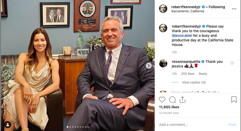 Illustration for article titled Well, Here's Jessica Biel Apparently Lobbying California Lawmakers Alongside Anti-Vaccine Activist Robert F. Kennedy Jr.