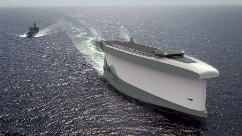 Illustration for article titled This Massive Cargo Ship Will Harness the Wind With Its Hull