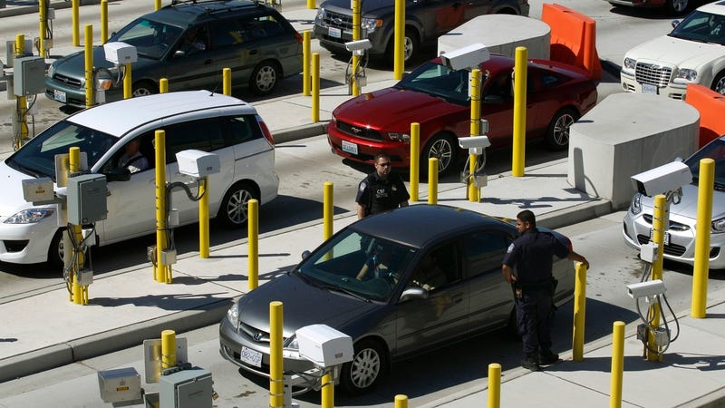 File photo of the US-Canada border in 2011 near Blaine, Washington (AP Photo/Ted S. Warren)
