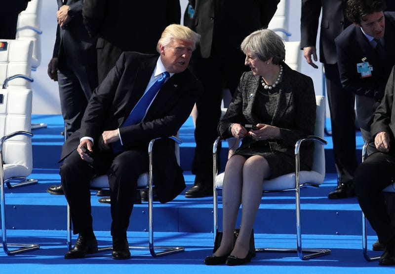 President Donald Trump and British Prime Minister Theresa May at NATO summit meeting May 25, 2017, in Brussels (WPA Pool/Getty Images)