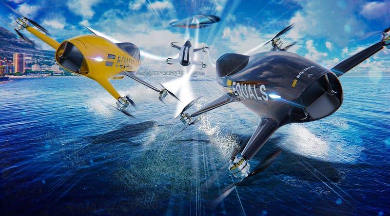 Illustration for article titled Como la F1, pero con coches voladores: así serán las carreras de drones tripulados de la Airspeed Series