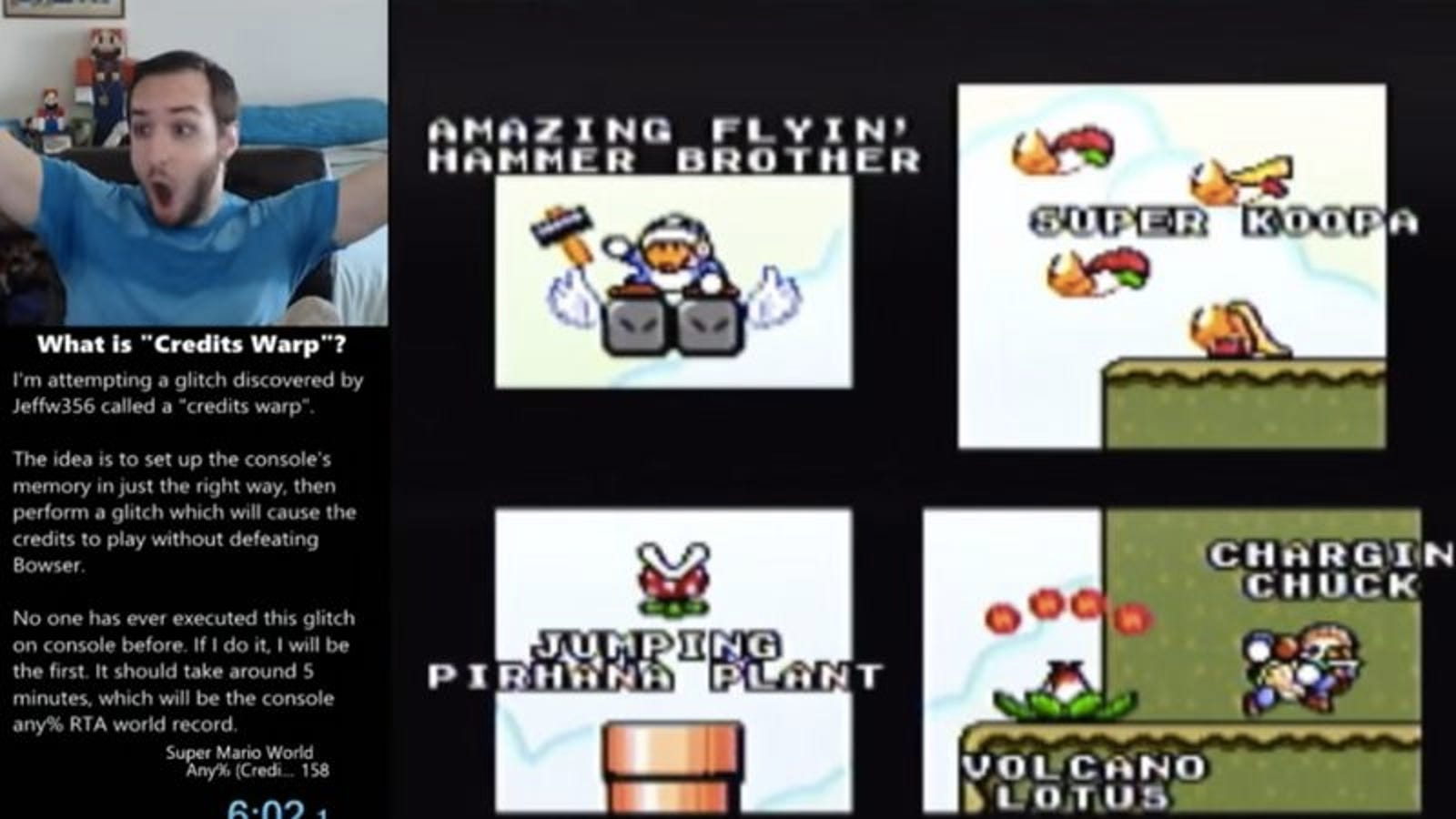 A speedrunner tricked Super Mario World into ending in 6 minutes