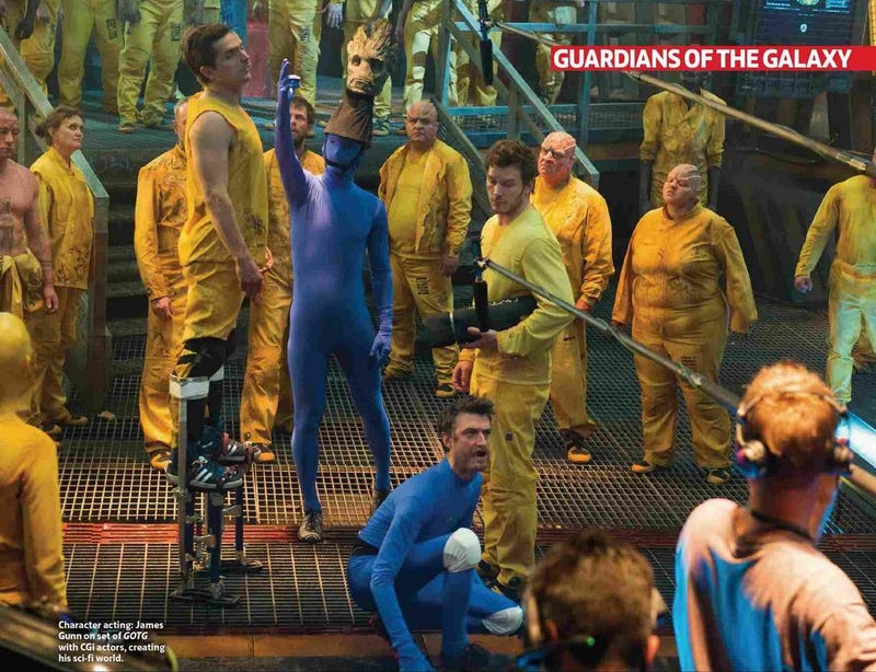 Illustration for article titled Here Is What Groot And Rocket Look Like On The Guardians Set Before CG