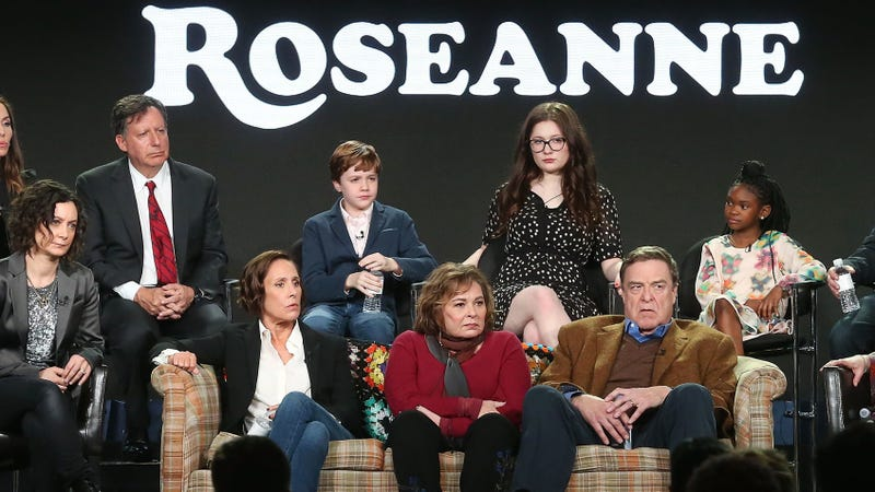 Cast members and executive producers of the television show Roseanne onstage during the ABC Television/Disney portion of the 2018 Winter Television Critics Association Press Tour at the Langham Huntington, Pasadena, on Jan. 8, 2018, in Pasadena, Calif.
