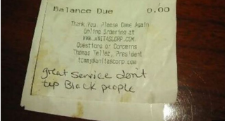 """Great service don't tip black people"" was written on the bottom of a bill at Anita's New Mexico Style Cafe in Ashburn, Va.WJLA Screenshot"