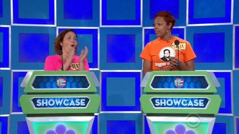 A pair of contestants try to keep their composure as they are presented with a dazzling array of prizes during The Price Is Right's Showcase round (not the Showcase Showdown).