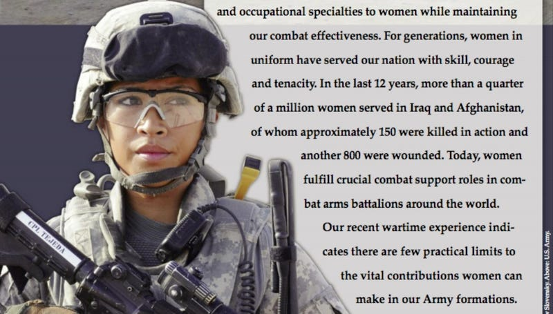 Illustration for article titled Army Memo Says This Woman Is Too Pretty to Take Seriously as a Soldier