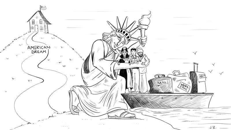 Illustration for article titled Frustrated Man Forced To Agree With Dumbass Political Cartoon Of Statue Of Liberty Hugging Immigrants