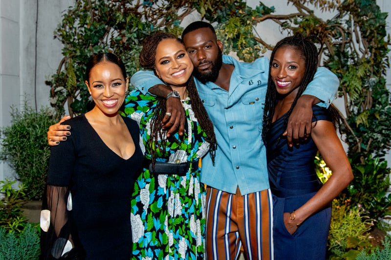 Dawn-Lyen Gardner, Ava DuVernay, Kofi Siriboe and Rutina Wesley attend a garden cocktail party in honor of DuVernay and the OWN show Queen Sugar at Ladurée SoHo on May 20, 2018, in New York City.