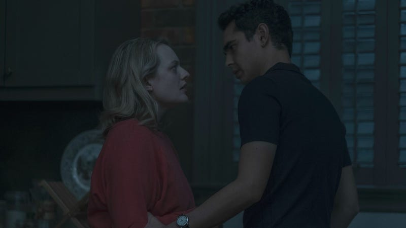 Elisabeth Moss and Max Minghella star in The Handmaid's Tale