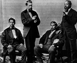 Creeks in Oklahoma: Lochar Harjo, unidentifed man, John McGilvry and Silas Jefferson (aka Hotulkomiko), circa 1877Smithsonian