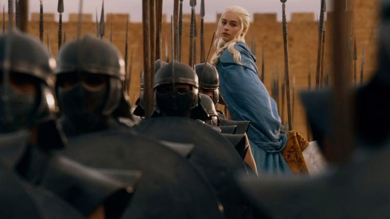 Daenerys Targaryen takes charge of the Unsullied. (Photo: HBO)