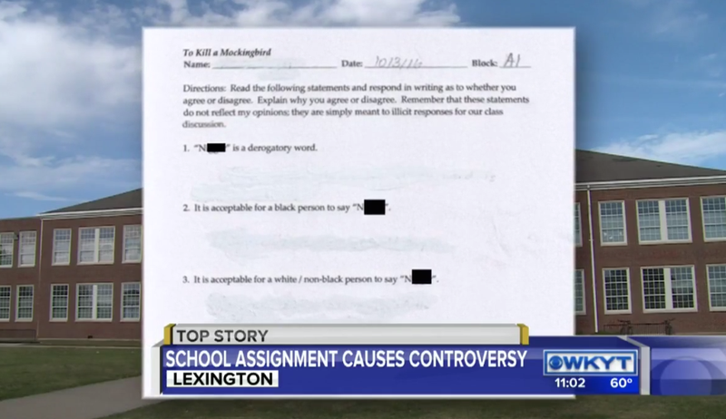 Screenshot of a controversial assignment at Lexington, Ky.'s, Lafayette High School about the use of the n-word in the novel To Kill a Mockingbird WKYT