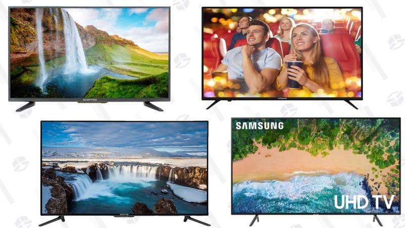 "SAMSUNG 58"" Class 4K (2160P) Ultra HD Smart LED TV UN58MU6070 | $448 | WalmartSceptre 55"" Class 4K Ultra HD (2160P) LED TV | $250 | WalmartPolaroid 50"" Class 4K Ultra HD (2160P) HDR Smart LED TV | $180 | WalmartSceptre 50"" Class FHD (1080P) LED TV | $200 | WalmartSceptre 32"" Class HD (720P) LED TV | $90 | Walmart"