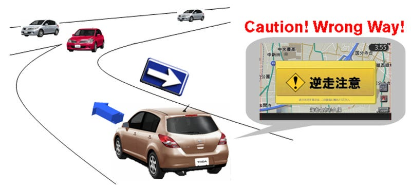 Illustration for article titled Nissan Developing Wrong Way, Pedestrian Collision Alert Technology