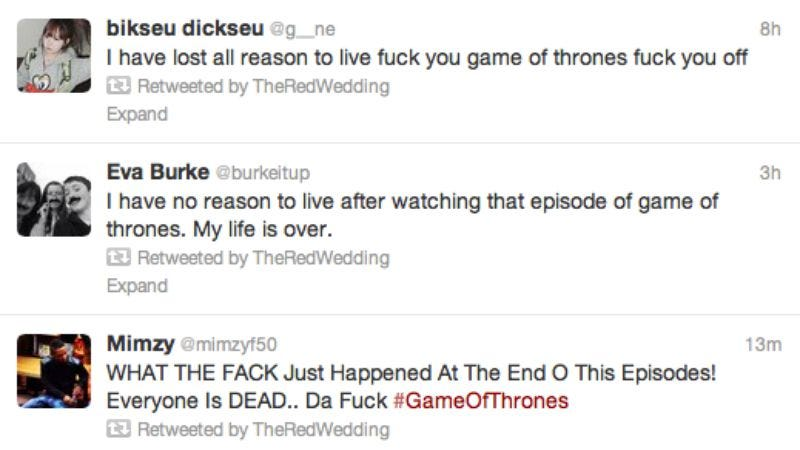Illustration for article titled A Twitter account is collecting all the visceral reactions to that thing that happened on Game Of Thrones last night