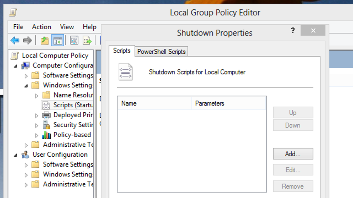 Use Group Policy Editor to Run Scripts When Shutting Down