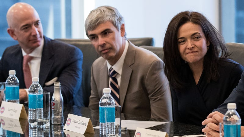 Amazon CEO Jeff Bezos, Alphabet CEO Larry Page, and Facebook COO Sheryl Sandberg meet Donald Trump. Photo: Getty