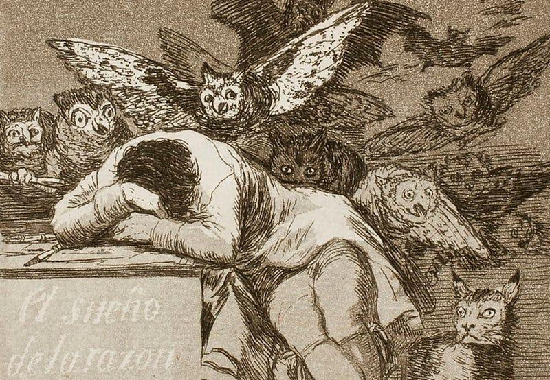 """Un fragmento de """"El Sueño de la razón produce monstruos"""", un grabado perteneciente a la serie """"Los Caprichos"""". Foto: Wikipedia"""