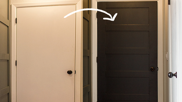 Typical hollow core doors are not only cheap they can also look cheap. You can get the look of a beautiful paneled door with just $12 in paint and plywood. & Transform a Plain Door into a Beautiful Paneled One for Just $12 pezcame.com