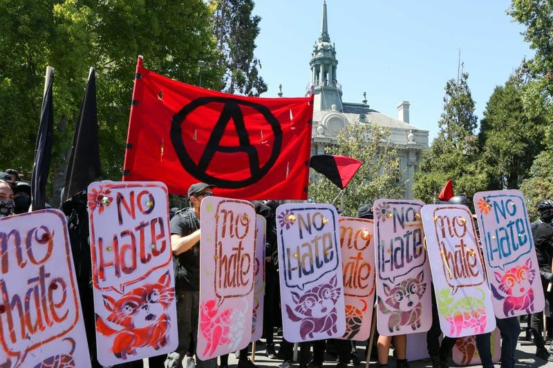 Anti-fascists and counterdemonstrators gather at the No to Marxism rally in Berkeley, Calif., on Aug. 27, 2017. (Amy Osborne/AFP/Getty Images)
