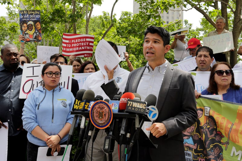 New York City Council Member Carlos Menchaca, chair of the council's immigration committee, speaks at a news conference about Ecuadorean restaurant worker Pablo Villavicencio outside the offices of Immigration and Customs Enforcement in New York City on June 8, 2018.