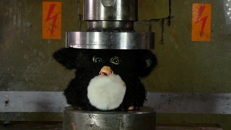 Screenshot: Crushing Furby with Hydraulic Press