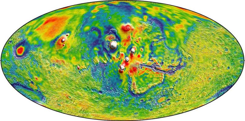 A Martian gravity map showing high-gravity areas in white and low-gravity areas in blue. (Image by MIT/UMBC-CRESST/GSFC)