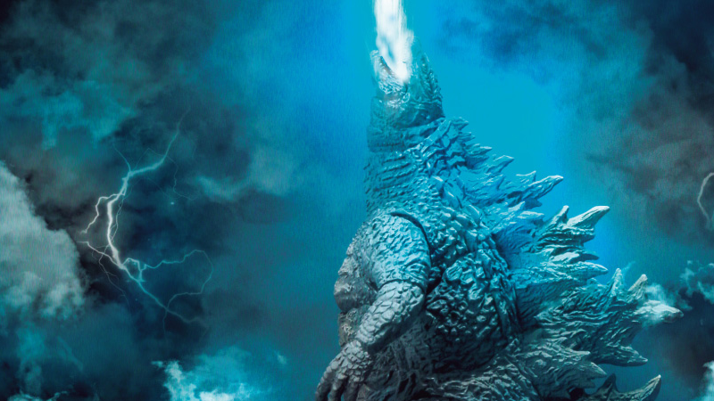 The Monsterarts Godzilla recreates the first teaser picture released from King of the Monsters.