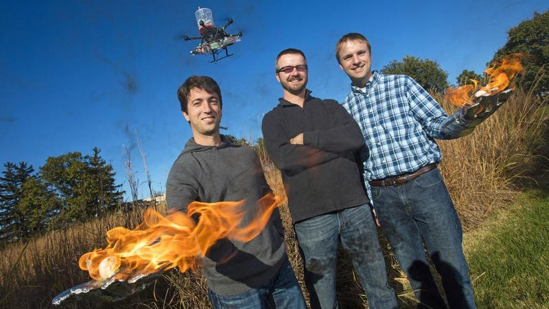 Illustration for article titled Oh Crap, Some Dudes Invented a Flame-Throwing Drone