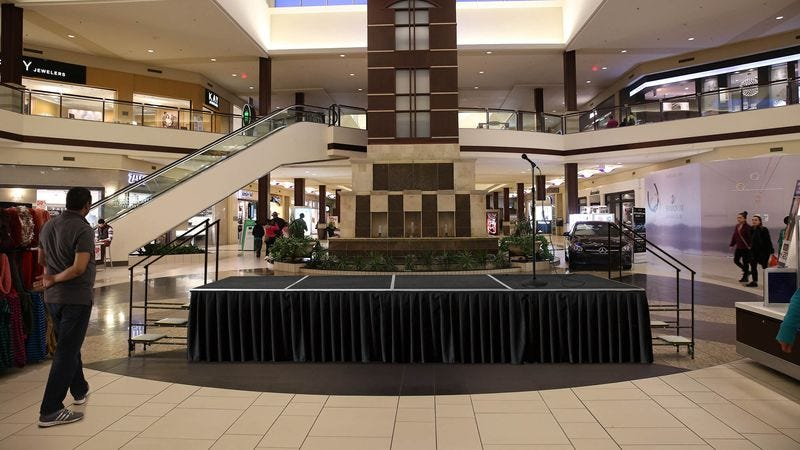 Illustration for article titled Entire Shopping Mall Quietly Dreading Whatever Empty Stage Set Up For