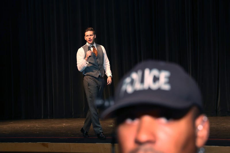 "White nationalist Richard Spencer, who popularized the term ""alt-right,"" speaks at the Curtis M. Phillips Center for the Performing Arts on Oct. 19, 2017, in Gainesville, Fla. (Joe Raedle/Getty Images)"