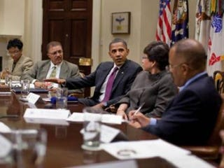 The Trotter Group with President Obama and Valerie Jarrett (Chuck Kennedy/White House)