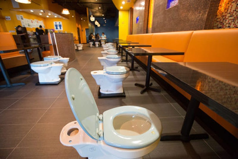 Illustration for article titled Toilet Themed Eatery Serves Black Poop, Constipation & Bloody Number 2