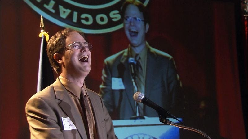 """Illustration for article titled The Office (Classic): """"Dwight's Speech""""/""""Take Your Daughter To Work Day"""""""