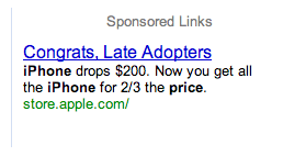 Illustration for article titled Apple Gloats, Spits in Early Adopters' Faces With iPhone Contextual Ad