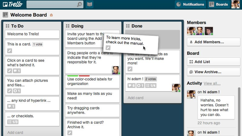Illustration for article titled Trello Makes Project Collaboration Simple and Kind of Enjoyable