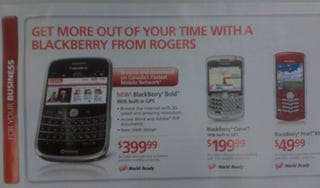 Illustration for article titled Rogers BlackBerry Bold Price Does Not Bode Well