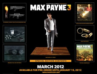 Illustration for article titled Max Payne 3's Collector's Edition Runs $100, Includes Twin-Gun Wielding, Suit Wearing Payne