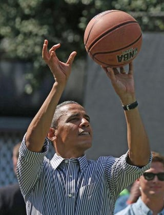 President Barack Obama playing basketball during the annual Easter Egg Roll on the White House grounds April 1, 2013, in Washington, D.C.Mark Wilson/Getty Images
