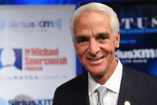 Former Florida Gov. Charlie Crist visits SiriusXM's Book Club With Michael Smerconish to discuss his new book, The Party's Over: How the Extreme Right Hijacked the GOP and I Became a Democrat, on Feb. 6, 2014, at SiriusXM Studio in Washington, D.C. Larry French/Getty Images