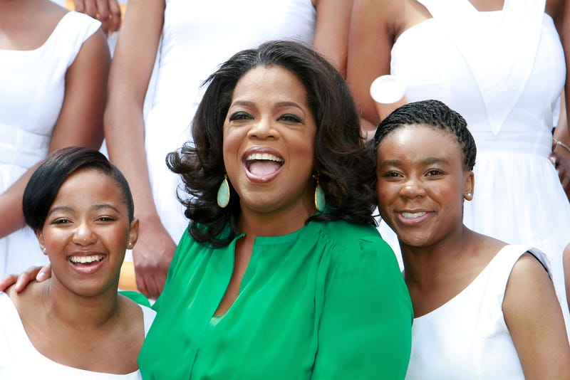 Oprah Winfrey poses with the graduates of the inaugural class of the  Oprah Winfrey Leadership Academy for Girls on Jan. 14, 2012, in Henley on Klip, South Africa.  Michelly Rall/Getty Images