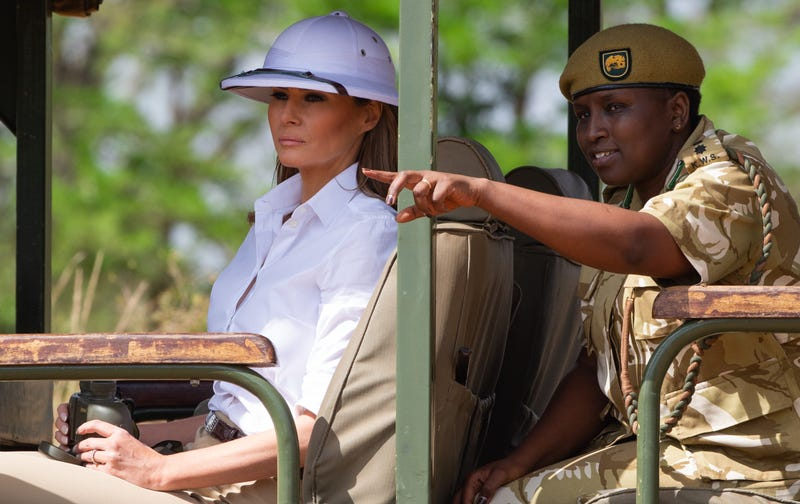 Melania Trump goes on a safari with Nelly Palmeris (R), Park Manager at the Nairobi National Park in Nairobi, October 5, 2018, during the third leg of her solo tour of Africa.