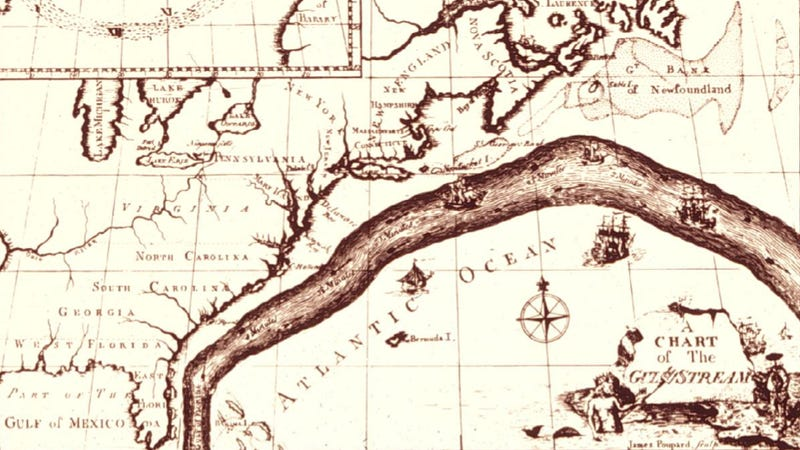 Illustration for article titled Here's the earliest known map of the Gulf Stream, created by Benjamin Franklin