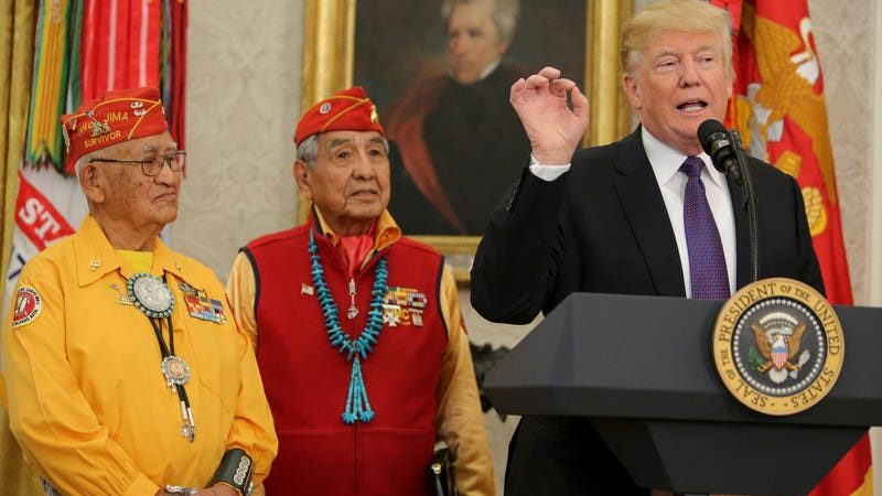 President Donald Trump at the podium during an event honoring members of the Native American code talkers in the Oval Office of the White House in Washington, D.C., on Nov. 27, 2017 (Oliver Contreras-Pool/Getty Images)